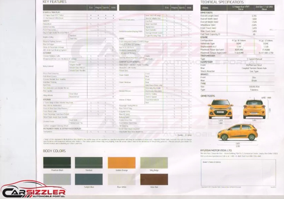 hyundai grand i10 brochure reveals tech specs colours and variants. Black Bedroom Furniture Sets. Home Design Ideas