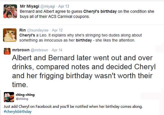 cheryl birthday puzzle funny tweets