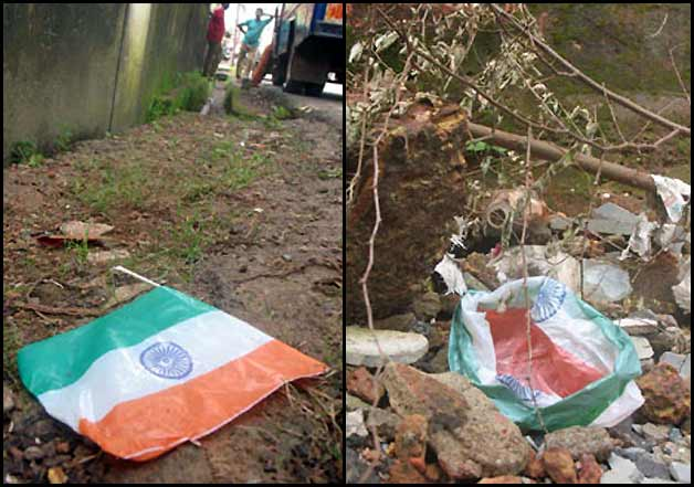 indian flag lying on road