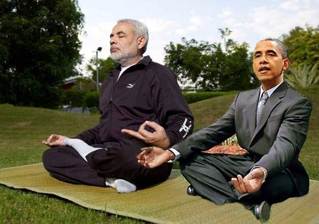 modi teaching obama yoga