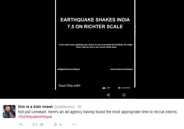 twitter jokes on nepal earthquake
