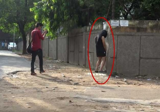 Girls caught peeing outside video