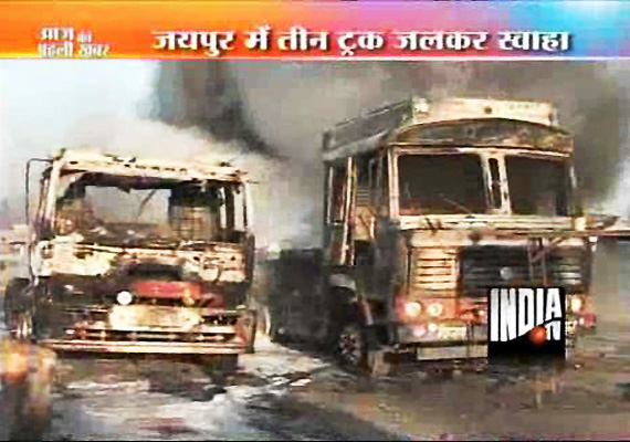Two Trucks Go Up In Flames After Indian Oil Trailer Catches Fire Near Jaipur