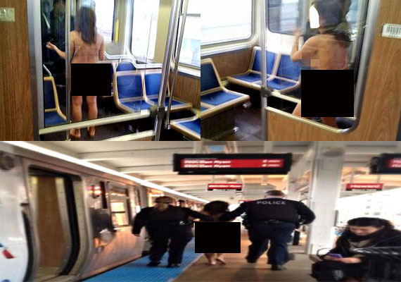 Woman walks naked into a train in Chicago, claims she is a goddess