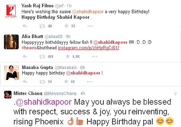 bollywood wishes shahid kapoor on birthday