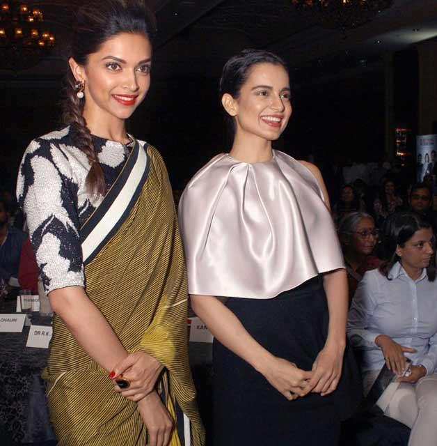 Kangana Ranaut with Deepika Padukone