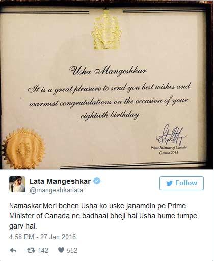 Lata Mangeshkar Sister Birthday Wish Canada PM