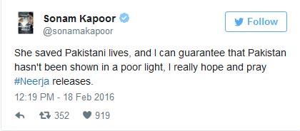 Sonam Kapoor disheartened Neerja ban Pakistan | India TV
