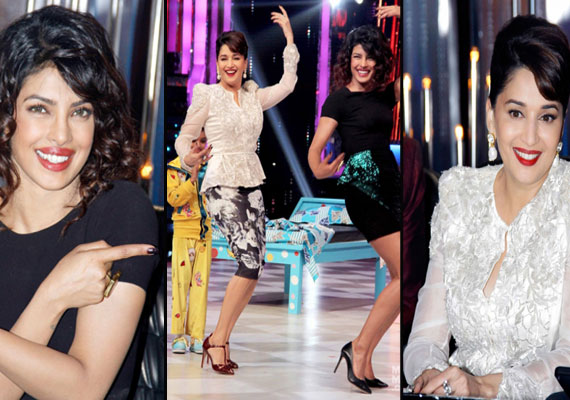 Priyanka Chopra makes Madhuri Dixit dance on the sets of Jhalak (view pics)