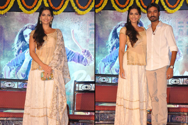 Sonam,  Dhanush  promote Raanjhanaa in Mumbai (Watch pics)