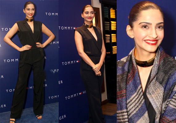 d11f3960 For the press meet over 10 years' celebration of Tommy Hilfiger in India,  Sonam was seen in Tommy Hilfiger from head to toe. She chose a black  jumpsuit for ...