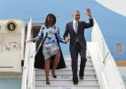 Michelle Obama arrives in Indian-American designer's creation