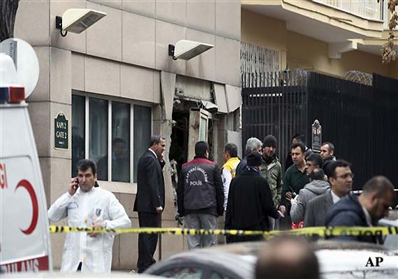 Blast kills two outside US embassy in Turkey