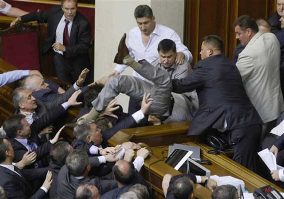 Fight breaks out among MPs in Ukraine parliament