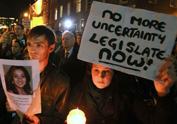 Hundreds hold protest march outside Irish Parliament over Savita's death