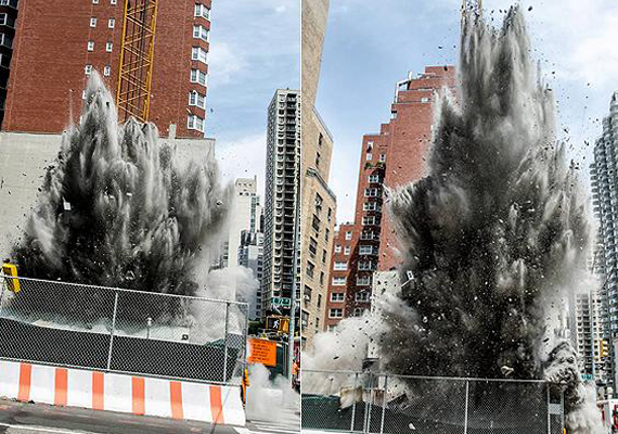 Underground dynamite blast  in New York  spews concrete as high as 8 stories