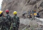 Chinese soldiers repair highway in Nepal
