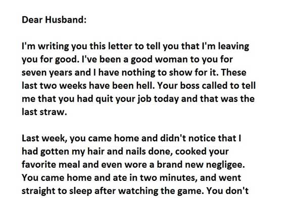 husband letter to wife