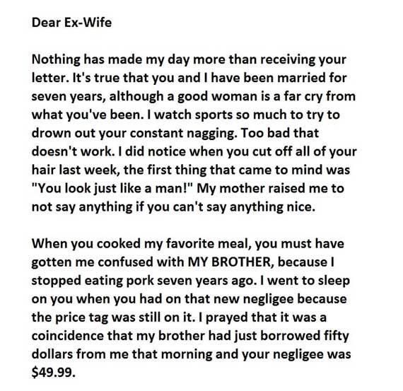 The best 'divorce letter' you would read today