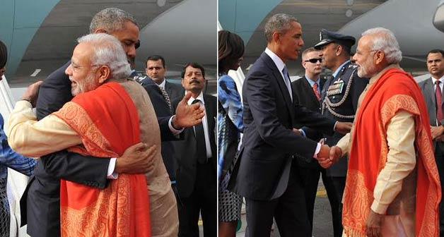 Obama Modi hug