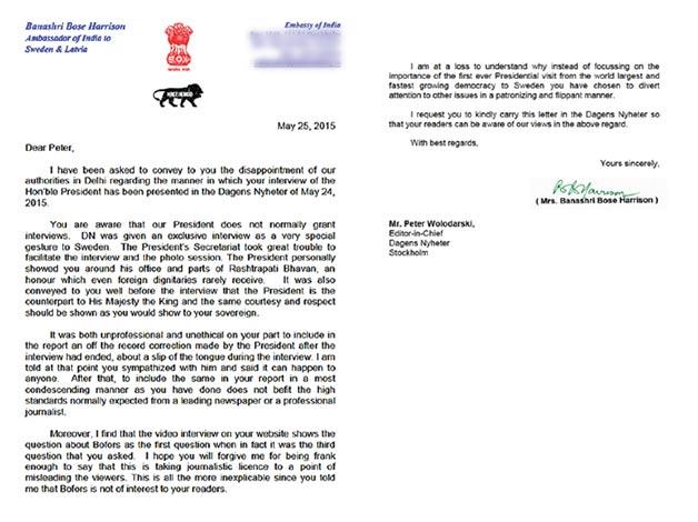Sweden India embassy letter