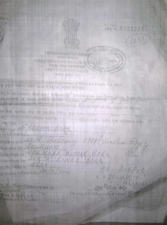 Sheena Bora birth certificate