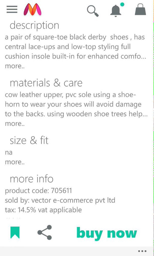 Myntra cow leather product