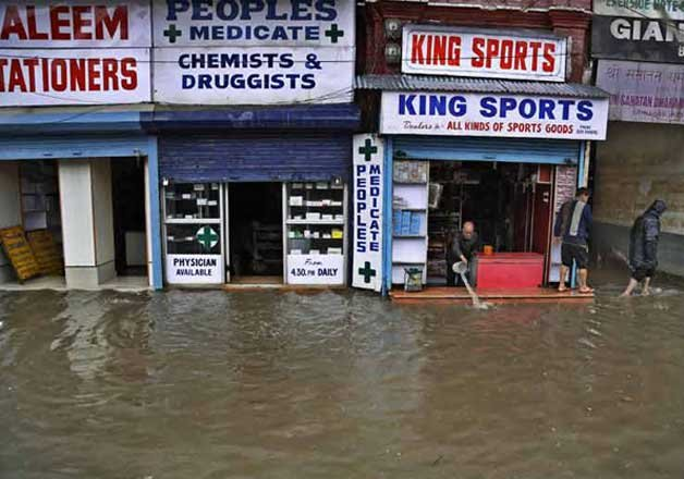 The water levels at two measuring points sangam in south kashmir and