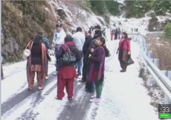 Season's first snowfall in Nainital
