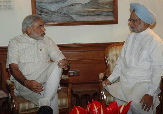 Modi meets PM, gives memorandum on Sardar Sarovar