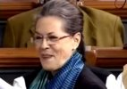 Sonia Gandhi laughing in lok sabha
