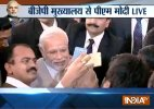 PM Modi interacts with journalists at BJP office
