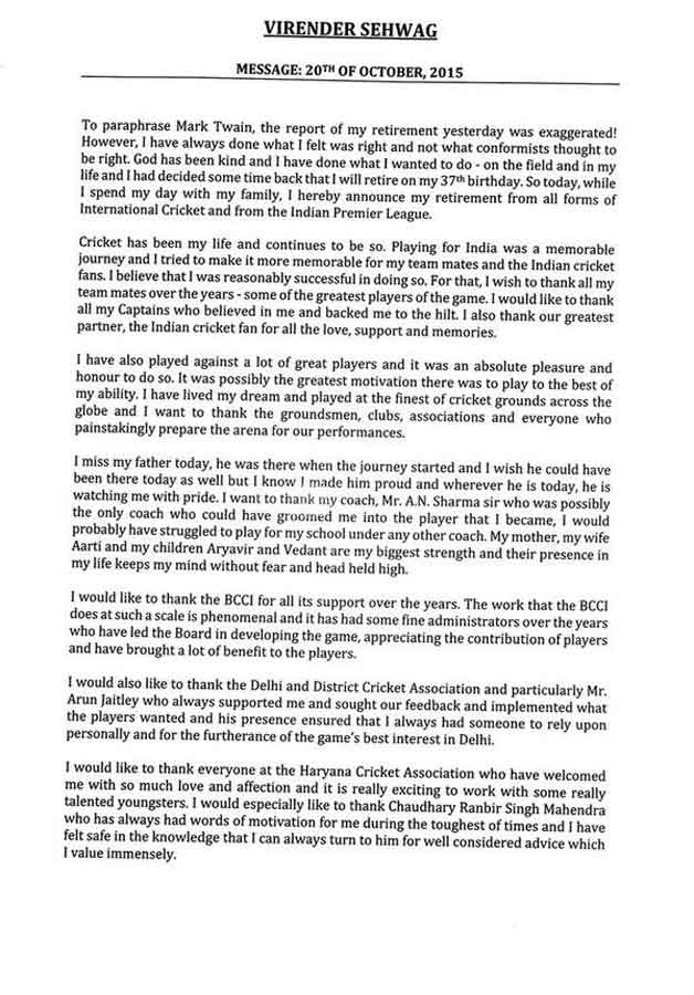 Sehwag retirement statement