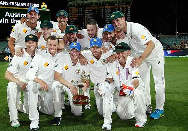 Australia wins 1st day-night test...