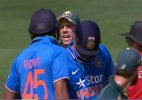 Tri-Series: Brief verbal spat between Sharma & Warner in 2nd ODI
