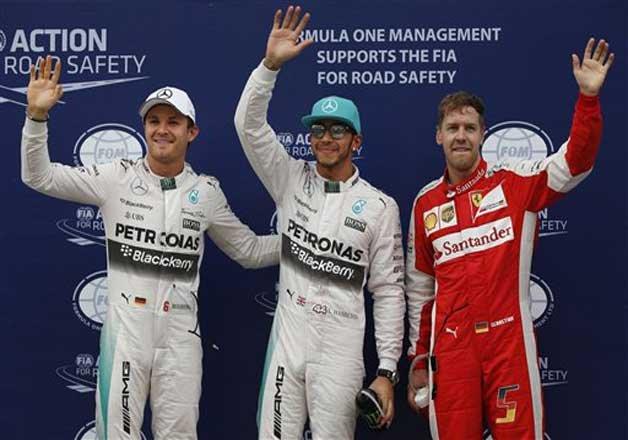 Hamilton on pole, Vettel 2nd in...