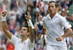 Novak Djokovic ,Radek Stepanek entertain at Wimbledon